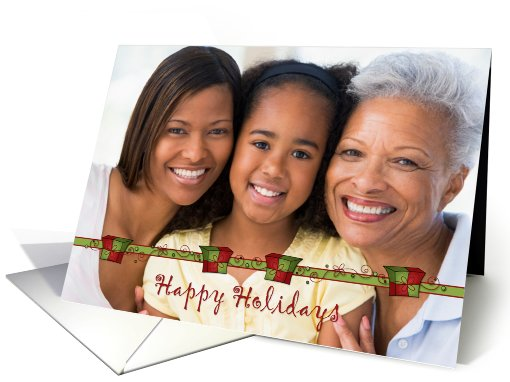 Gift Boxes, Swirls, Happy Holidays, Christmas Photo card (942660)