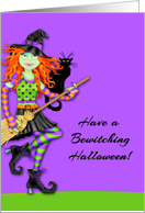 Bewitching Rocking Witch, Black Cat, Halloween card