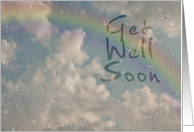 Get Well Soon, Raindrops on Window with Rainbow card
