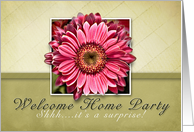 Welcome Home Party, Surprise Party Invitation- Pink Flower on Green and Tan Background card