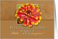 Surprise Welcome Home Party Invitation, Flower with Tan Background card
