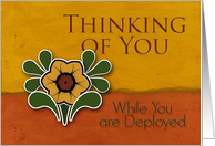 Thinking of You While You are Deployed, Yellow Flower, Orange & Deep Yellow Background card