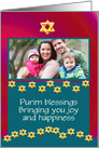 Purim photo card celebration with Star of David card