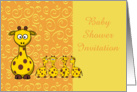 Baby Shower Invitation with baby giraffes and mother girraffe card