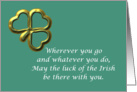 Happy St. Patrick's Day Irish blessing with gold shamrock card