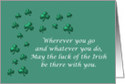 Happy St. Patrick's Day Irish blessing with green shamrock clover card