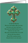 Happy St. Patrick's Day Irish blessing with green and gold cross card