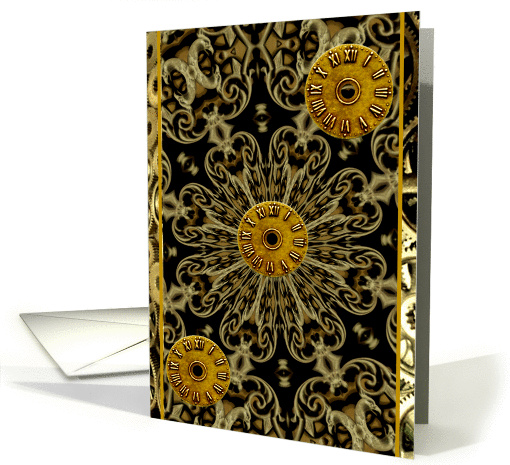 Steampunk rust brass copper bronze clock face blank note card