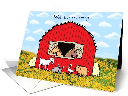 We're moving Change of Address with sunflowers and barn card (1095898)
