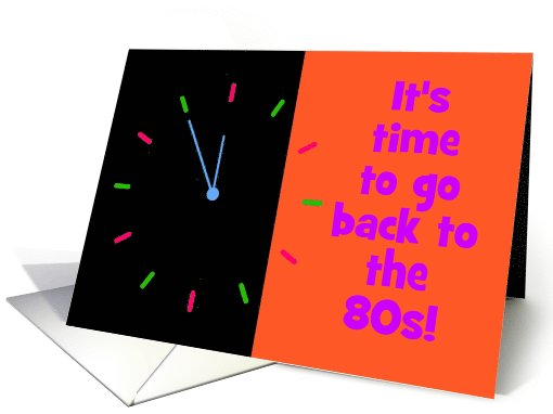 80s themed party invitation 80s party neon clock card (1103278)