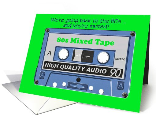 80s themed party invitation 80s party cassette card (1103312)