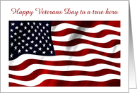 Veterans Day with American flag and custom text Thank you veteran card