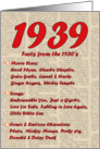 1939 FUN FACTS - BIRTHDAY newspaper print nostaligia year of birth card