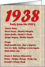 1938 FUN FACTS - BIRTHDAY newspaper print nostaligia year of birth card