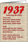 1937 FUN FACTS - BIRTHDAY newspaper print nostaligia year of birth card