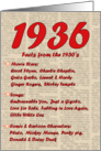 1936 FUN FACTS - BIRTHDAY newspaper print nostaligia year of birth card