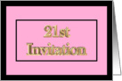 21st - 21 - Pink Gold Bling Birthday Invitation card