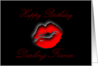 Happy Birthday Fiance sexy red lips kissing card