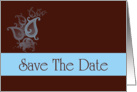Save The Date scroll blue and chocolate brown romantic spring colors card