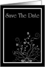 Save The Date with flowers and scrolls card