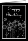 Happy Birthday with flowers scrolls card