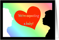 Interracial Preganancy Annoucement Expecting A Baby card