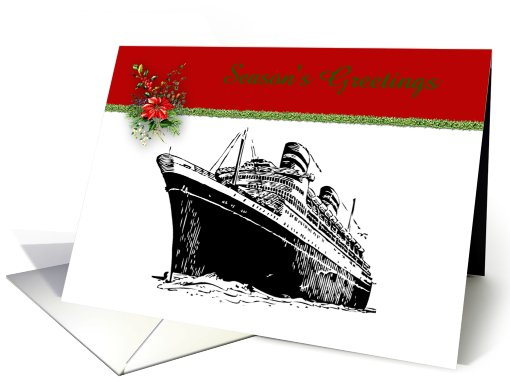 Christmas Cruise Ship with tinsel poinsettia cruise liner custom card