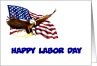 Happy Labor Day with American flag and American eagle custom card