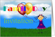 Family Day Invitation with girl holding balloons card
