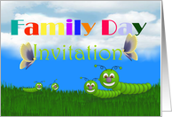 Family Day Invitation with caterpillars and butterflies card