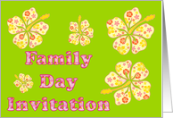 Family Day Invitation with hibiscus flower card