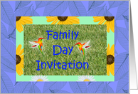Family Day Invitation with hummingbirds and grass card