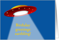 Happy Birthday card with alien and spaceship card