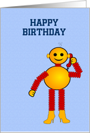 Happy Birthday card with robot toy for children's birthday custom text card