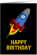 Rocket Happy Birthday card with spaceship card