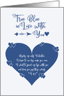 True Blue in Love With You Valentine Wedding Proposal card