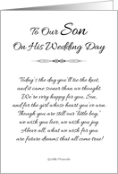 To Our Son on His Wedding Day - Black and White card