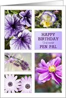 Lavender hues floral birthday card for pen pal card