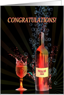 Congratulations from us all, with splashing wine card