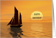 A Yatch Sailing into the Sunset Birthday card