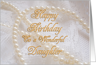 Daughter, Birthday with Pearls and Lace card