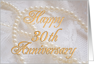 Pearls and lace 30th anniversary card, card