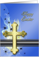 Golden cross Easter Card