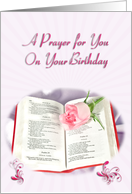 Bible and rose prayer card for a Birthday card