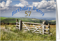57 years Birthday Party Invitation card showing farm gate and the countryside card