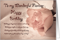 A birthday card for fiancee. A pale pink rose on a delicate lace background card