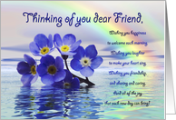 Thinking of friend with Forget me nots adrift on the ocean with a rainbow card