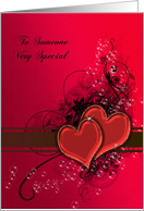 Birthday for fiancee, red hearts of love. card