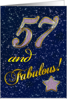 57th Birthday party with diamond stars card