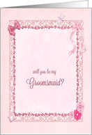 A Groomsmaid invitation craft-look card, add a name card